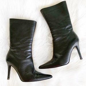 Colin Stuart Black Leather Heeled Mid Calf Boots